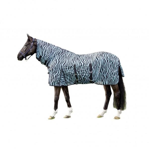HKM Fliegendecke mit Halsteil -Zebra Aqua-